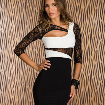 Black and White Half Sleeve Lace Embroidered Contrast Cutout Bodycon Mini Dress