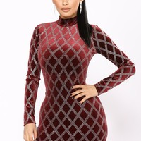 Fancy Things Velvet Glitter Dress - Burgundy