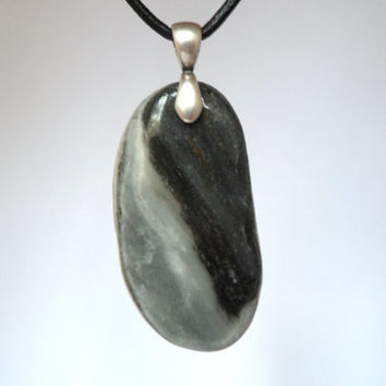 Dark And Light Grey Oval Stone Necklace, Silver Bail, Stone Pendant Jewelry