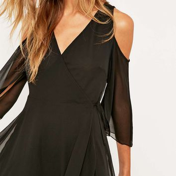 Pins & Needles Cold Shoulder Solid Wrap Dress - Urban Outfitters