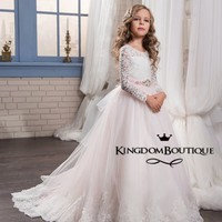 High Quality Flower Girl Dresses 2017 Scoop Full Sleeves Lace Bodice Princess Kids Formal Gown Girls First Communion Dresses