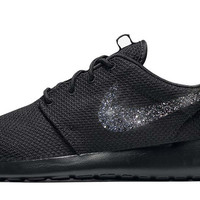 Nike Roshe One + Hand Customized Black Glitter Swoosh - Black/Black