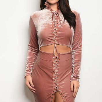 Womens Long-Sleeve velvet bodycon dress that features lace up a cutout waist