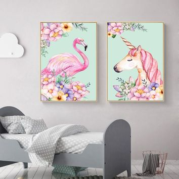 Flamingo Unicorn Flower Nordic Poster Animal Canvas Art Prints Art Painting Decorative Picture Children Living Room Decoration