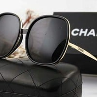 Chanel Stylish Ladies Personality  Logo Letter Summer Sun Shades Eyeglasses Glasses Sunglasses(6-Color) Black I-A-SDYJ
