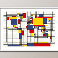Map of the World Map in the style of Piet Mondrian Art Print