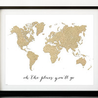 "Instant download 20x16"" Printable world map, golden glitter map print, travel wall art ""oh the places you'll go"", gold print -gp015- pdf"