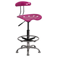 Flash Furniture Vibrant Pink & Chrome Drafting Stool w/ Tractor Seat - LF-215-PINK-GG