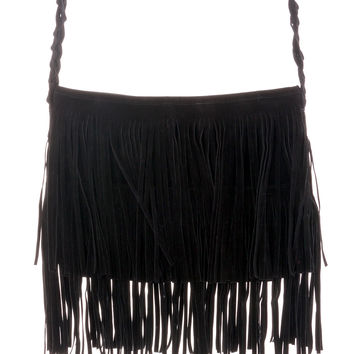 Black Fringe Knit Strap Shoulder Bag 5