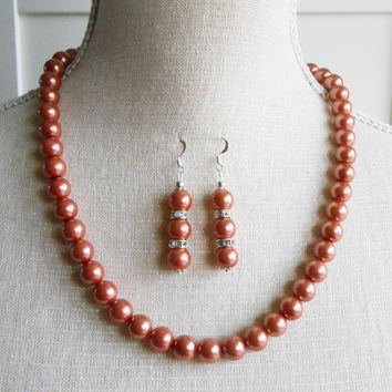 Indian red or wine color pearl beads, bridesmaid pearl set, bridesmaid gift, wedding bridal set, wedding bride set, mother of the groom
