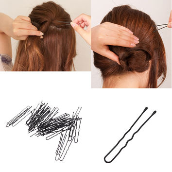 50pcs Beauty Hair Pins Thin U Shape Hair Bobby Pin Black Metal Clips Health Hair Care Styling Tools SM6