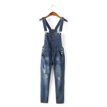 Womens Jumpsuit Denim Overalls 2016 Spring Casual Ripped Hole Loose Pants Ripped Pockets Waist Jeans Coverall 0329