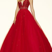 Ball Gown Style V-Neck Prom Dress by Mori Lee