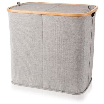 MV Bamboo With Canvas Gray Double Hamper Split Laundry Basket With Lid