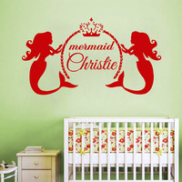 Mermaid Wall Decals Custom Girl Personalized Name Stickers Nursery Decor SM31
