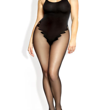 Plus Size Opaque Teddy Bodystocking