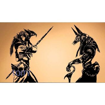 The ancient Egyptian Gods Horus and anubis wall stickers(Size: high 57 cm * 93 cm wide)