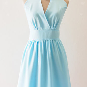 Boho Blue Bridesmaid Dress Baby Blue Cocktail Dress Blue Dress Elegant Wedding Party Dress, Baby Blue Prom Evening Dress - XS-XL,custom