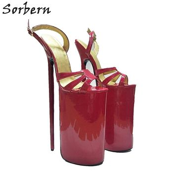 Sorbern Super High 30Cm Women Sandals Extreme Thin Heels Party Shoes Show Large Size Thick Platform Summer Sandal Shoes Open Macchar Cosplay Catalogue