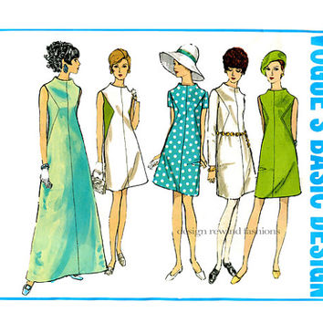 1960s MOD DRESS PATTERN Vogue Basic Design 1944 A-Line, Seam Detail Evening Cocktail Maxi Dresses Bust 34 Vintage Women's Sewing Patterns
