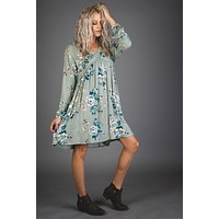 Sage Baby Doll Lace Trimmed Floral Dress