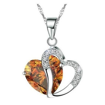 Hearts Of Fire Amber Crystal Necklace