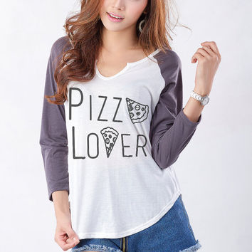 Pizza Shirt Funny Sweatshirt Tumblr Graphic Tee Womens Baseball Jersey Shirt 3/4 Sleeve Top Fangirl Swag Dope Instagram Teen Cute Gift Idea