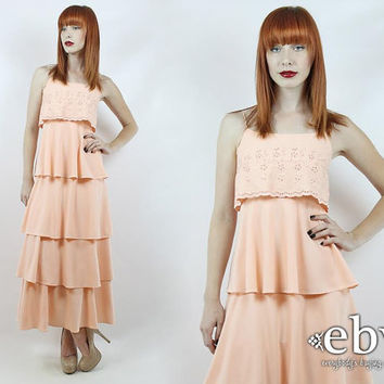 Vintage 70s Peach Tiered Ruffled Maxi Dress XXS Peach Dress Prom Dress Hippie Dress Hippy Dress Summer Dress 70s Maxi Dress