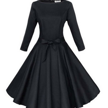 Womens Dresses 2017 Robe Pinup Big Swing Long Sleeve 50s Vintage Dress Black Red Blue Women Female Party Plus size clothing