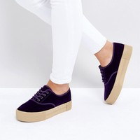Monki Exclusive Crushed Velvet Flatform Trainer at asos.com