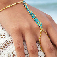 2016 New Popular Bohemia Turquoise Bracelet Fashion Slave Finger Hand Chain Jewelry For Women 1B201