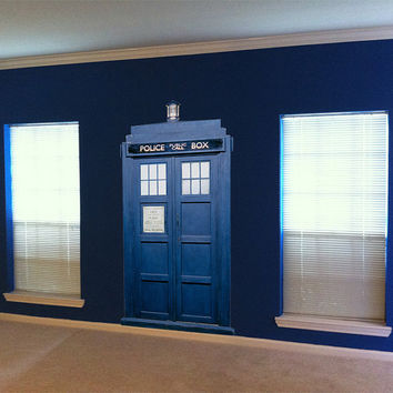 TARDIS Blue Police Box Wall Decal 72 inches tall x 37 inches wide
