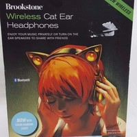 Brookstone Wireless Cat Ear Headphones Color Changing Ariana Grande NEW!