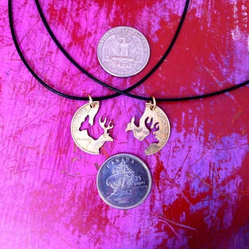 Buck and Doe Necklace Interlocking LOVE coin for couples Hand cut Puzzle