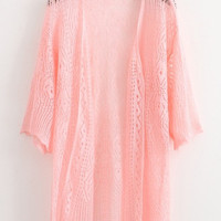 Pink Loose Knitted Cardigan