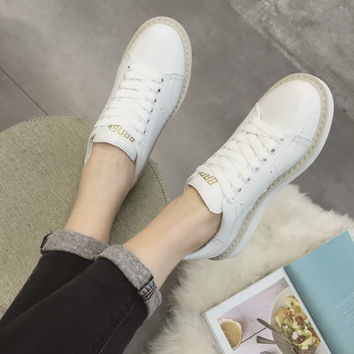 Comfort Stylish On Sale Hot Deal Hot Sale Leather White Hollow Out Casual Thick Crust Shoes Permeable Sneakers [4919226628]
