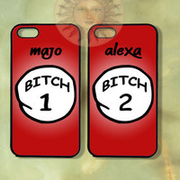 Customized Thing 1 and thing 2 Bitch-iPhone 5, 5s, 5c, 4s, 4, ipod touch 5, Samsung GS3 GS4-Silicone Rubber or Hard Plastic Case cover