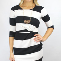 Not Always Black or White Wide Striped Cinched Waist Dress - Black/White