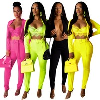 Women Sexy Solid Color Two Piece Long Sleeve Crop Blazer Pant Set