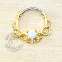 Gold Lace with White Opalite Steel Septum Clicker