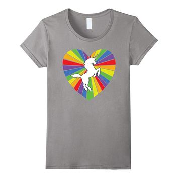 Unicorn Heart Rainbow T Shirt