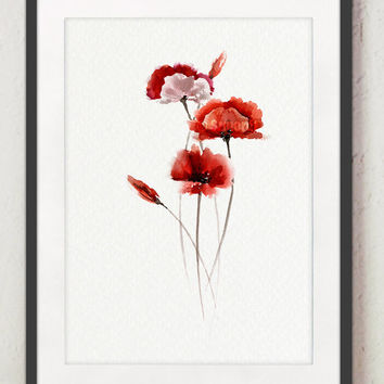 Red Poppies, Mother's Day, Abstract flower, Poppy painting, Watercolor Art Print, Giclee Illustration, Red Wall Decor