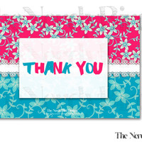 Pink and Blue Floral White Lace Printable Baby Shower Thank You Card