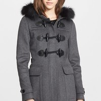 Women's Burberry Brit 'Blackwell' Wool Duffle Coat with Genuine Fox Fur Trim
