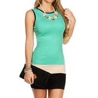 MintNudeBlack Sleeveless Colorblock Dress