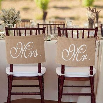 Hot Sale Mr and Mrs Tag Burlap Chair Banner Sign Garland Rustic Wedding Party Decoration