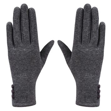 Women's Winter Warm Keep Soft Button Touch Screen Gloves for Texting Smartphone