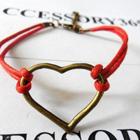 Red Hemp Ropes Bronze Love Sign Pendant Cuff by braceletcool