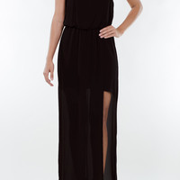 Black Slit Sleeveless Maxi Dress