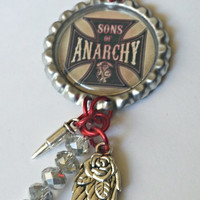 Sons of anarchy inspired. bottle cap keychain SOS key chain silver rose angel wing and silver bullet sons keyholder with crystal dangle